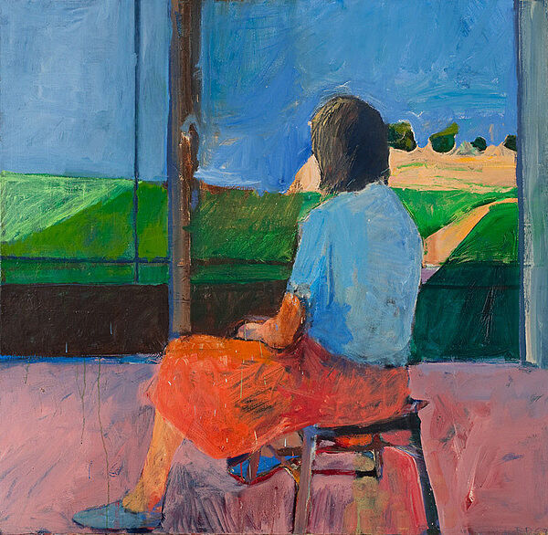 A painting of a girl looking out onto a landscape.