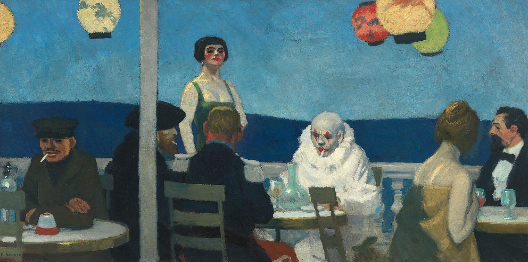 A painting of people sitting at cafe with a mostly blue color palette.