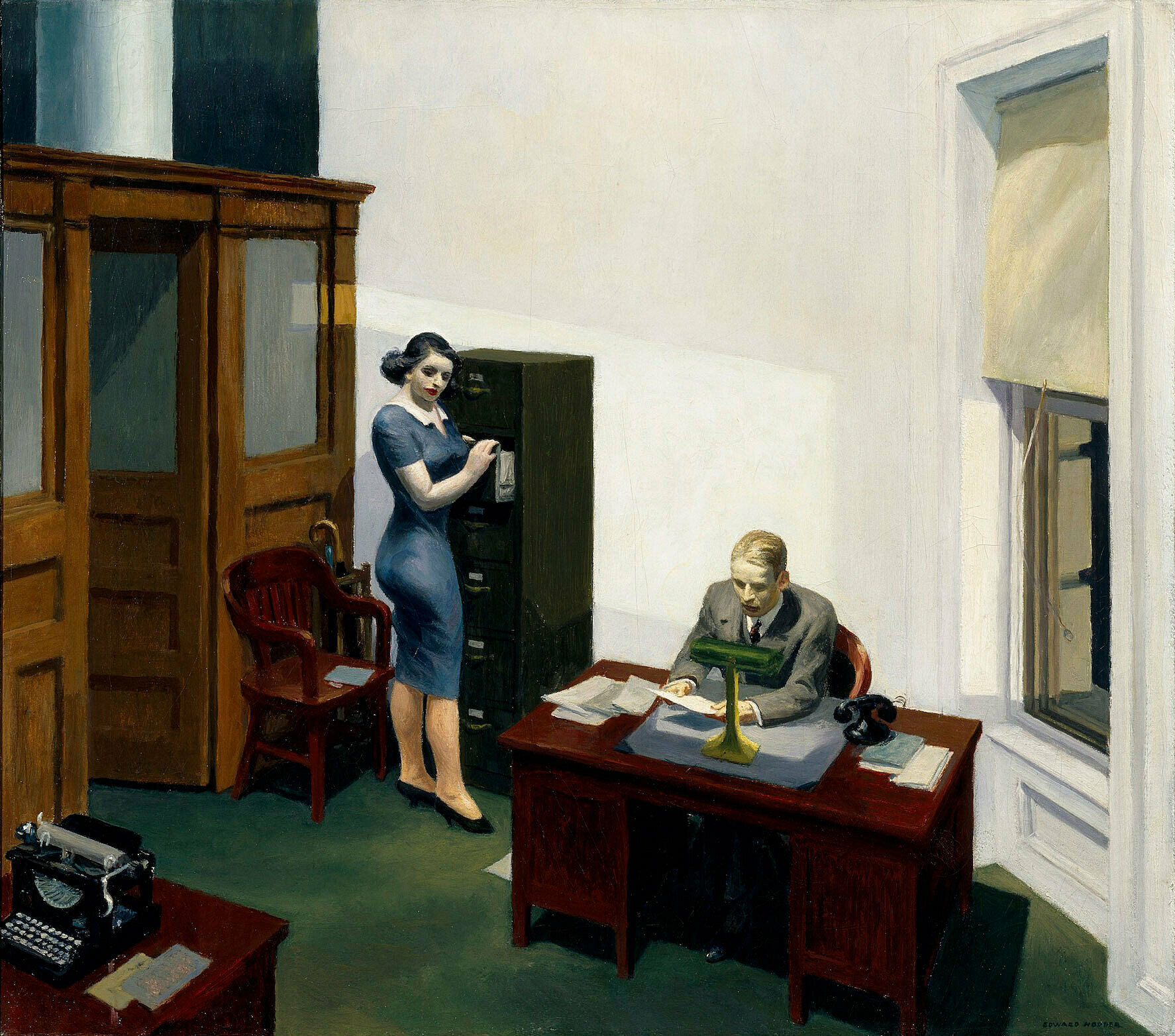 A painting of a woman and a man in an office at night.