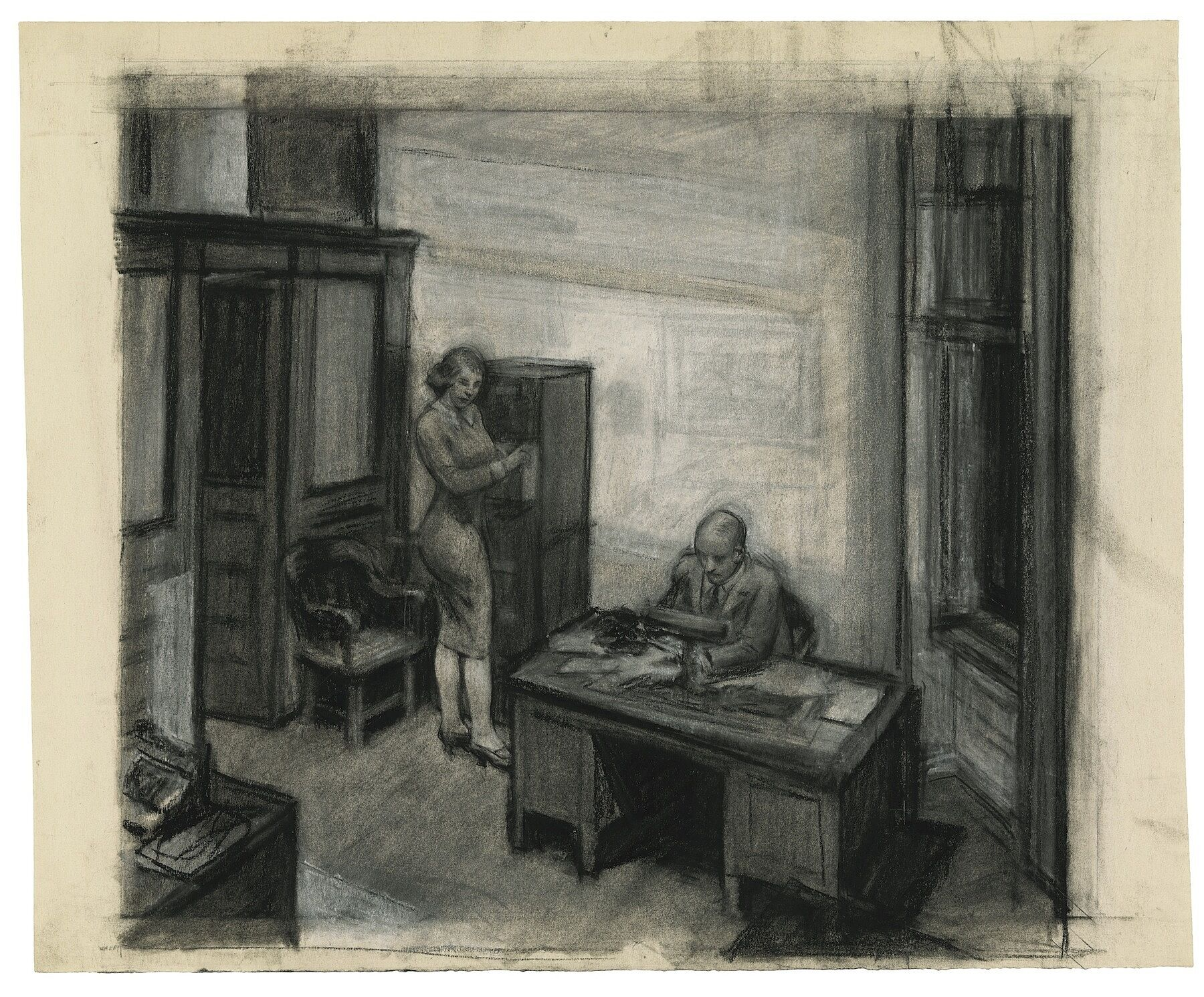 A drawing of a woman and man in an office at night.