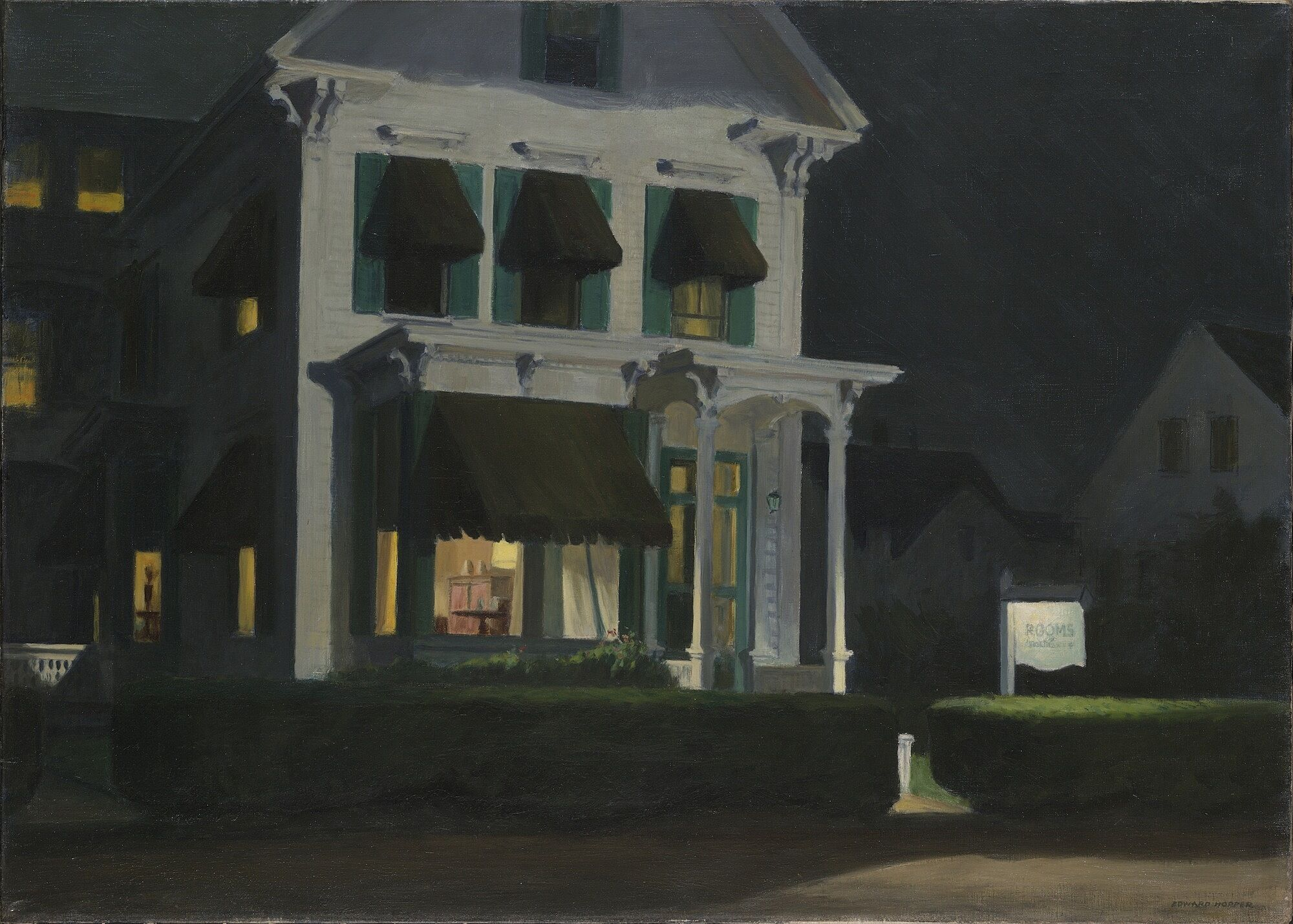 A painting of a house at night with the lights on inside.