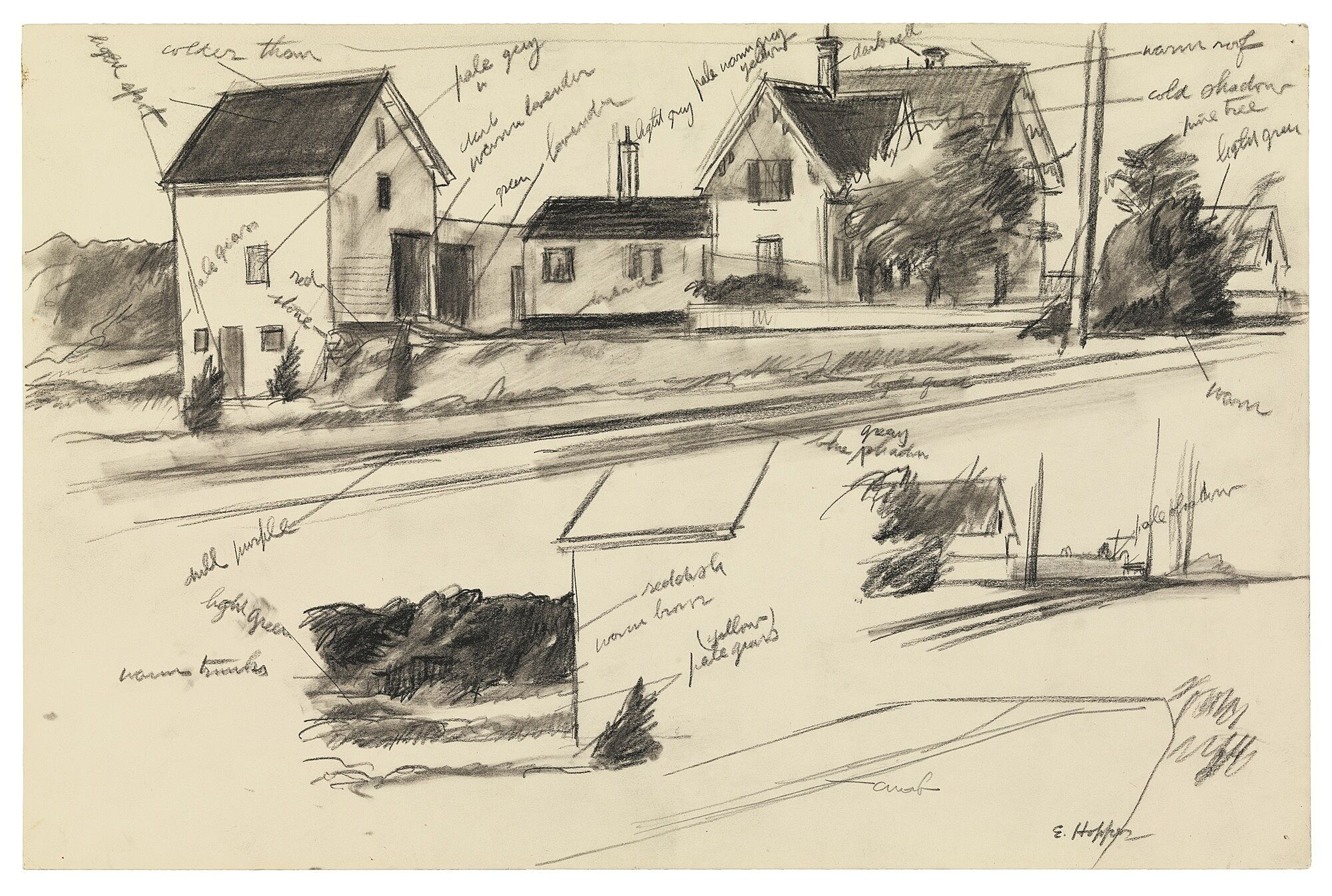 A sketch drawing of houses.
