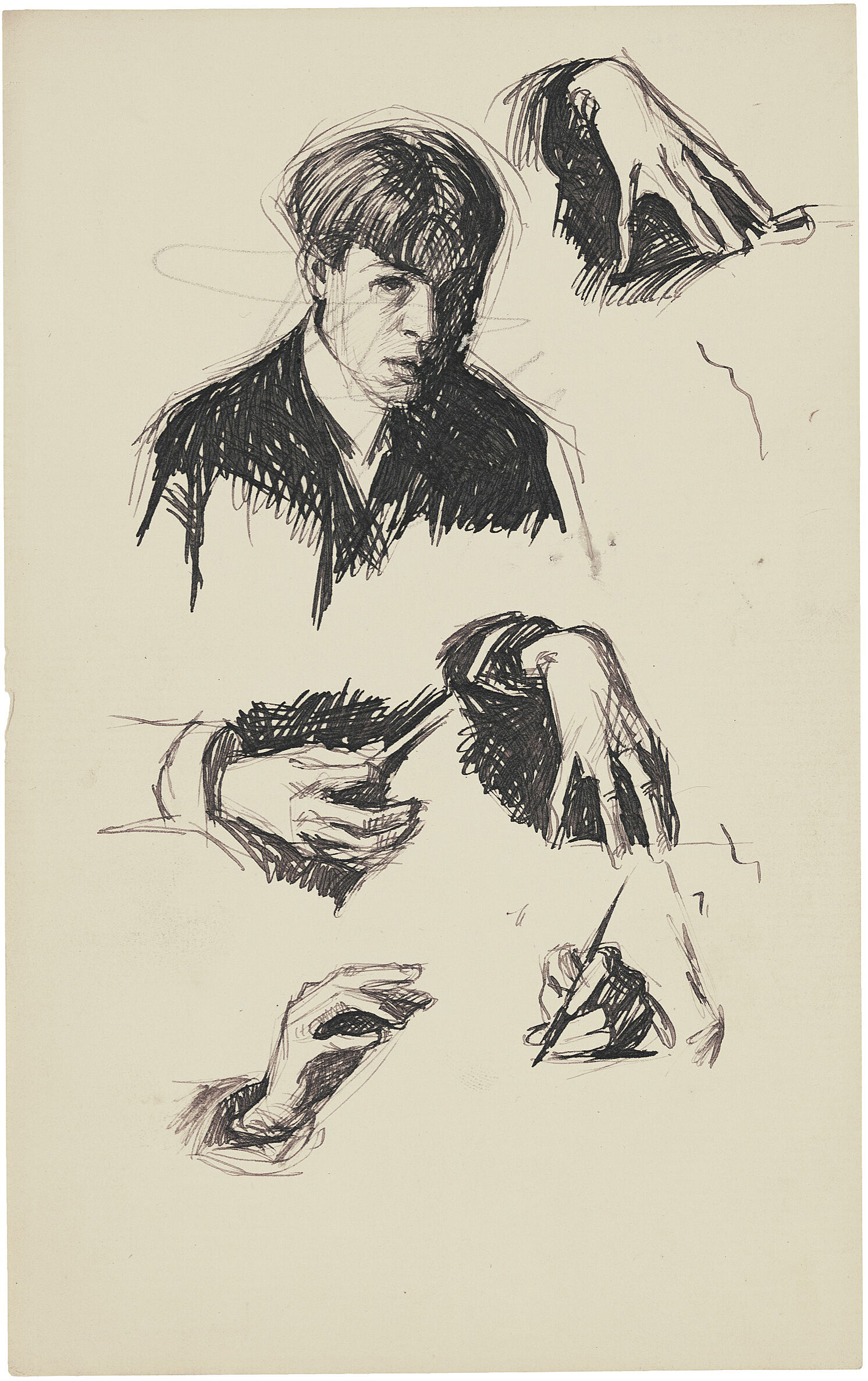 A drawing of Edward Hopper and 5 studies of his hands.