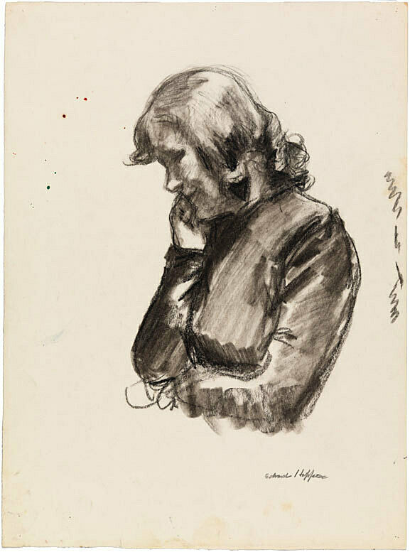 A drawing of a woman looking down.