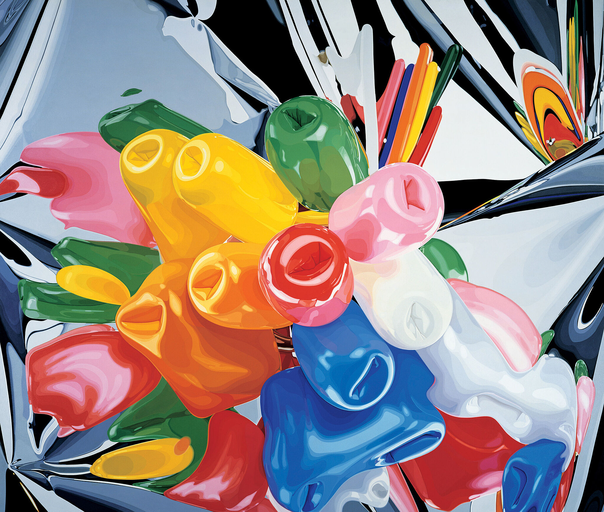 A brightly-colored abstract painting by Jeff Koons. Balloons against a silver backdrop.
