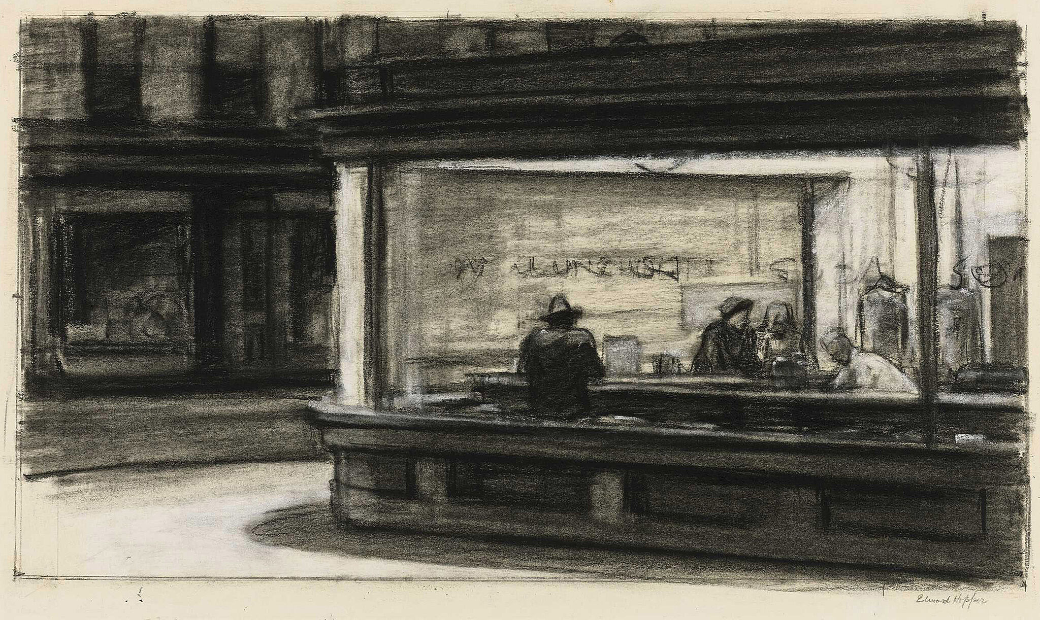 A drawing of a street corner cafe.