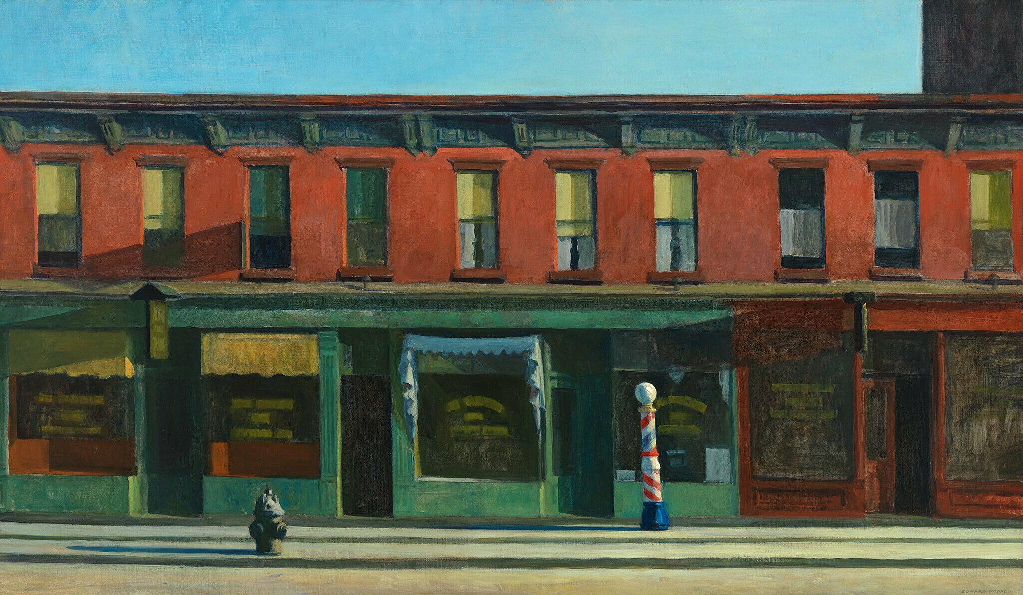 Hopper's iconic painting of empty street scene.