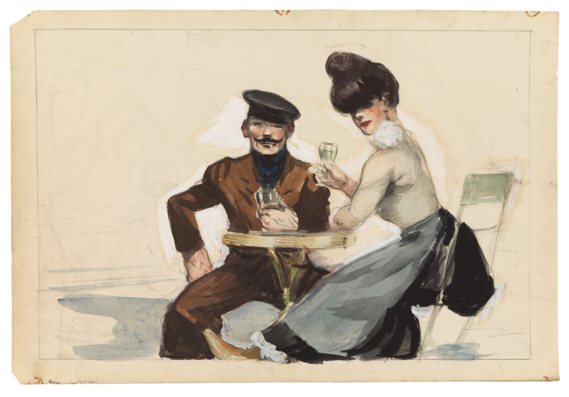 Man and woman drinking wine at a table.