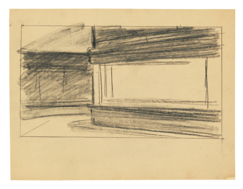 Shaded in sketch of the nighthawks.