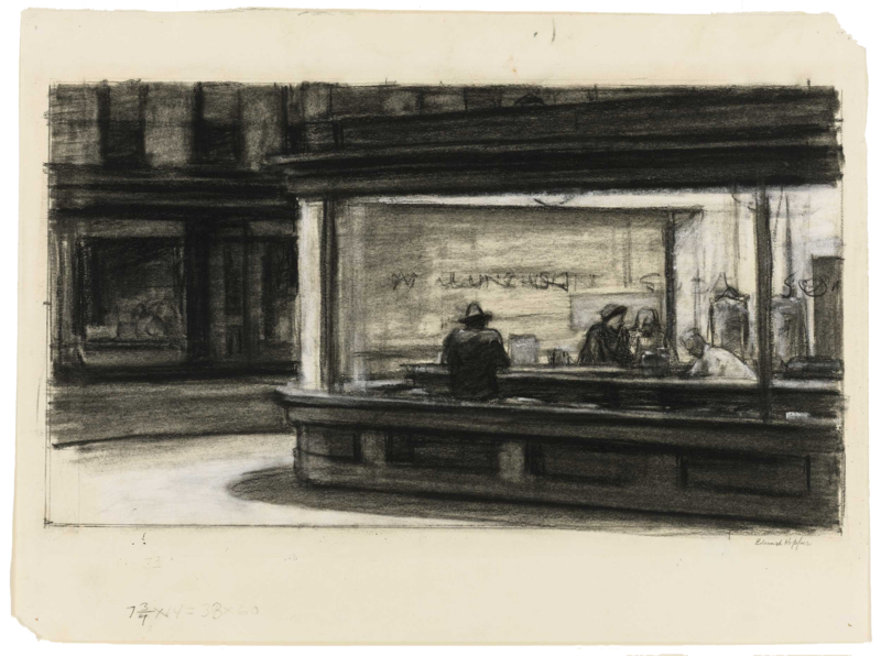Charcoaled study of Nighthawks at the diner.