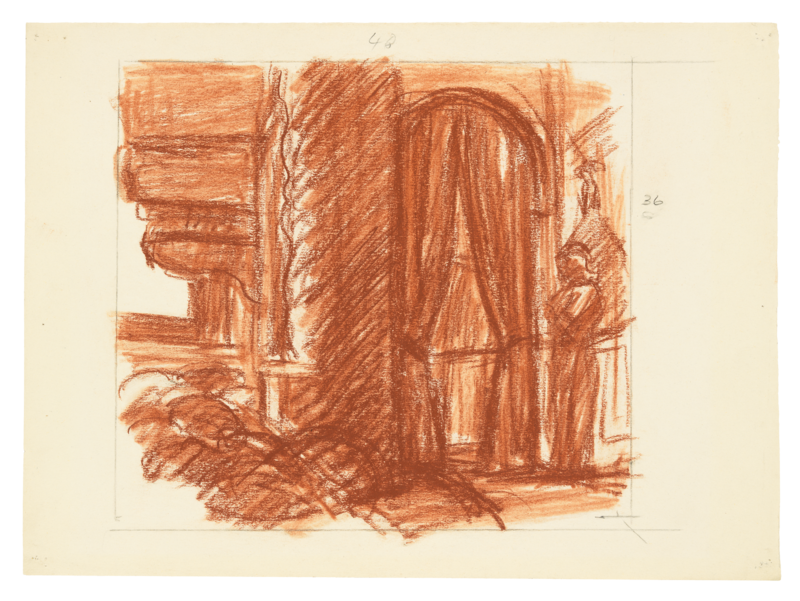 Red study drawing of movie painting.