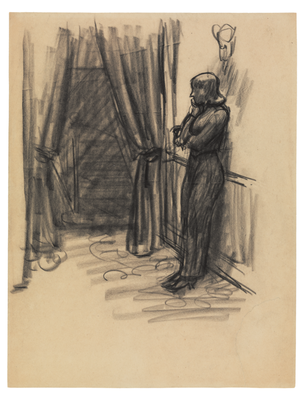 A woman with her back to a wall in a sketch.