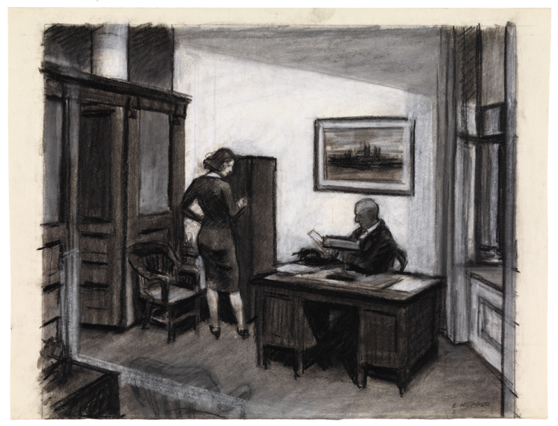 Sketch of a woman and man in an office at night.
