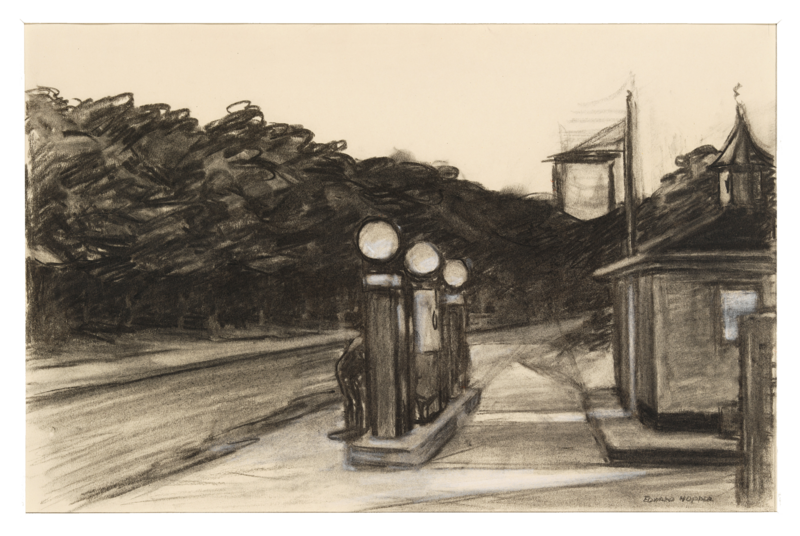 Sketch of a gas station with forest beyond it.