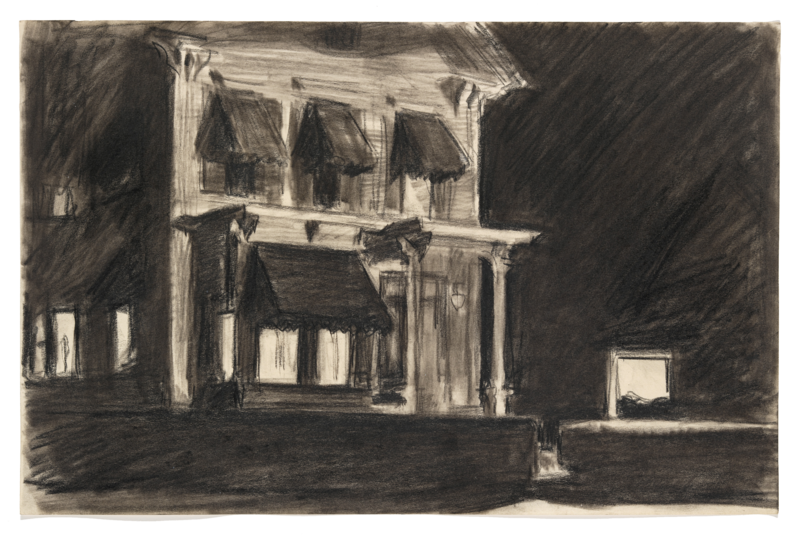 A mansion that has been sketched in black and white.