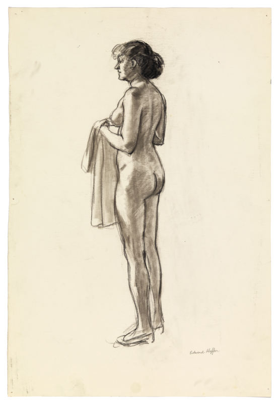 Sketch of a nude woman holding a shirt.