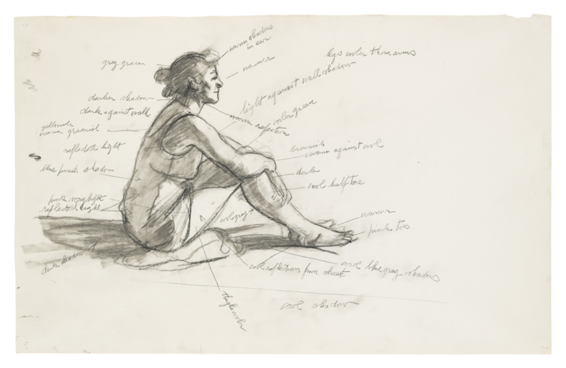 Sketch of a woman sitting in the sun with notes scribbled on it.