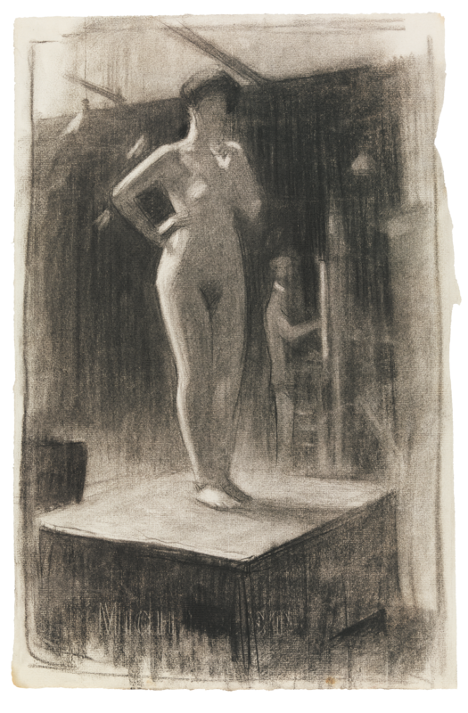A sketch of a female nude posing for a painter.
