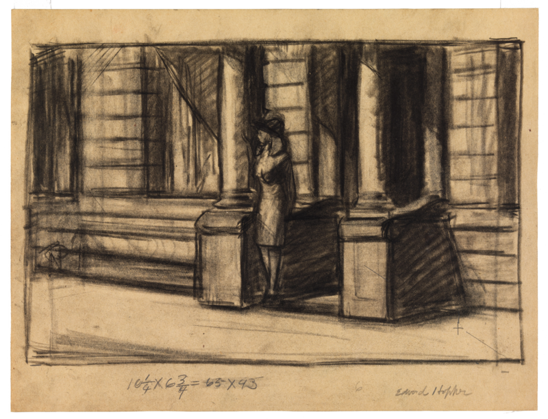 Sketch of a woman standing in front of building.