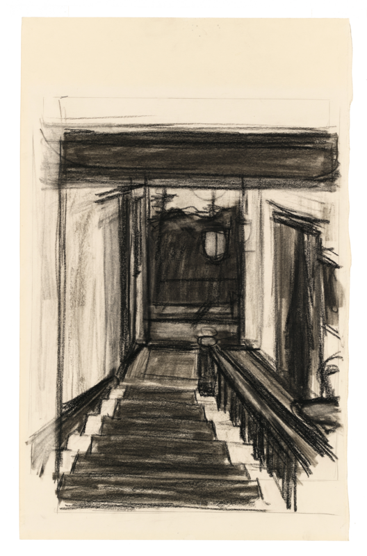 A charcoal of a stairwell.