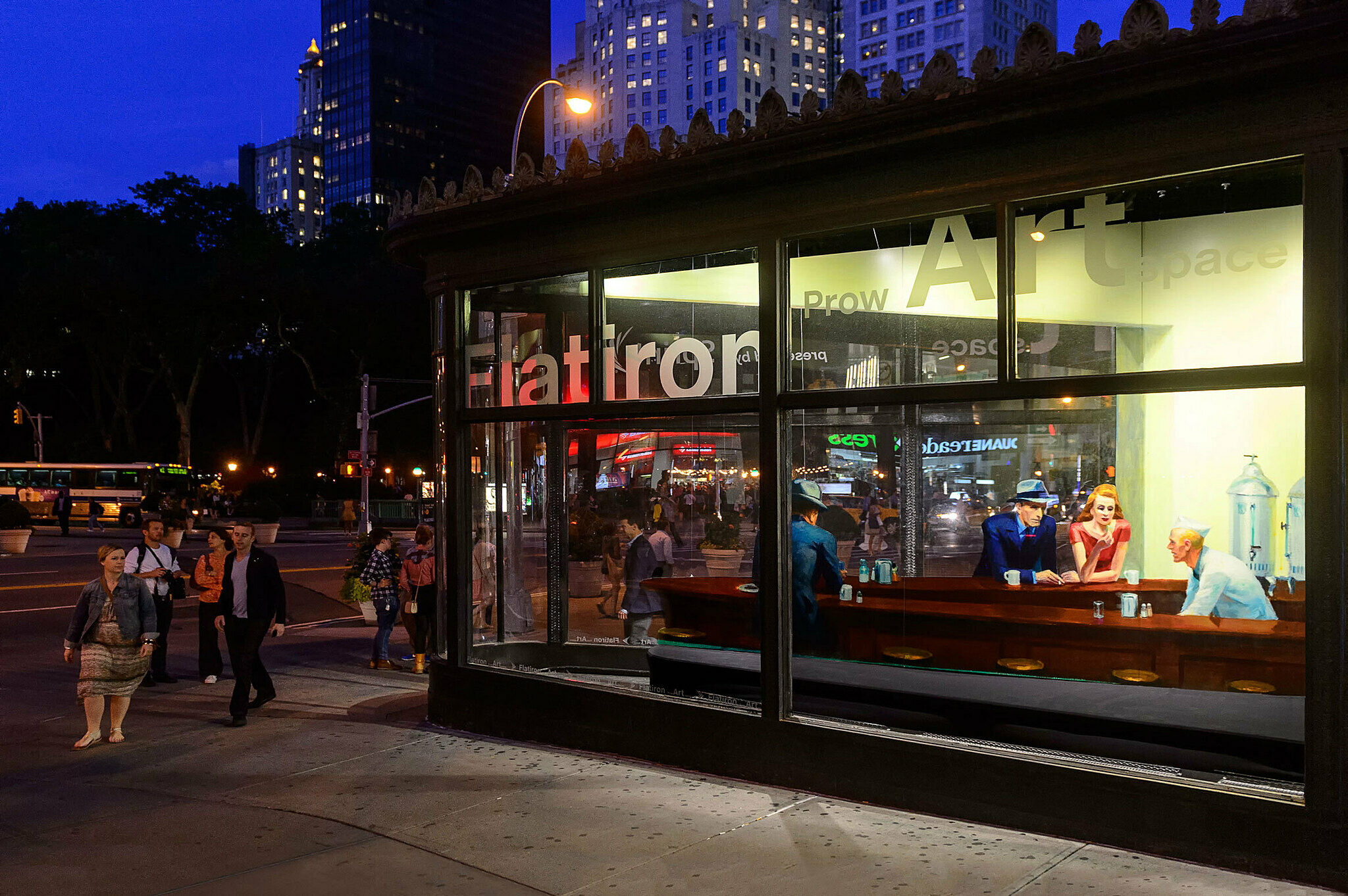 A photo of the Nighthawks installation in the Flatiron building