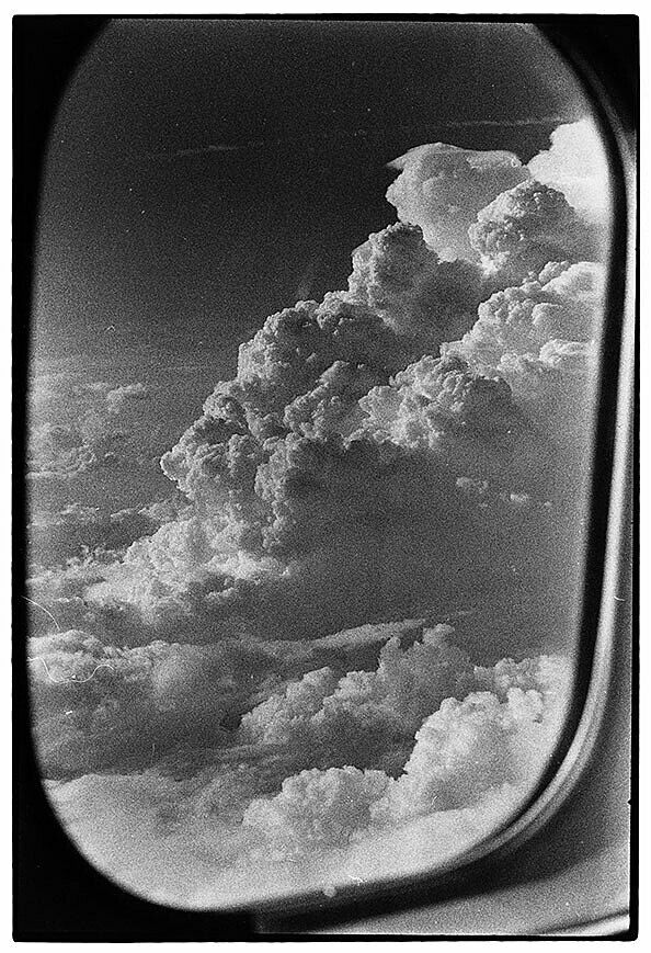 Clouds out a plane window.