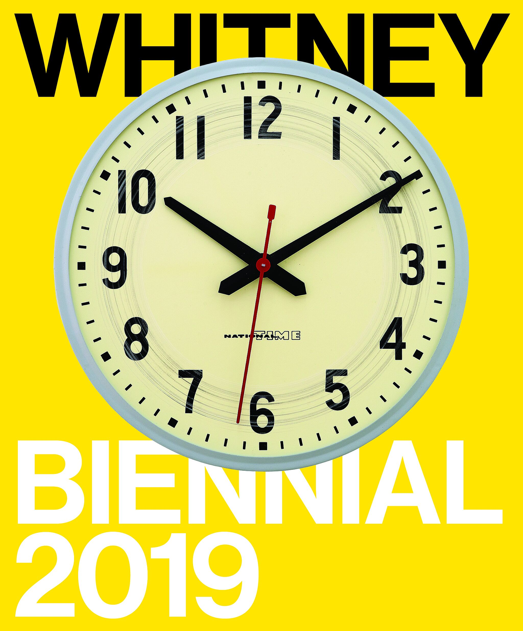 Text that says Whitney Biennial 2019 with a round clock in the middle.