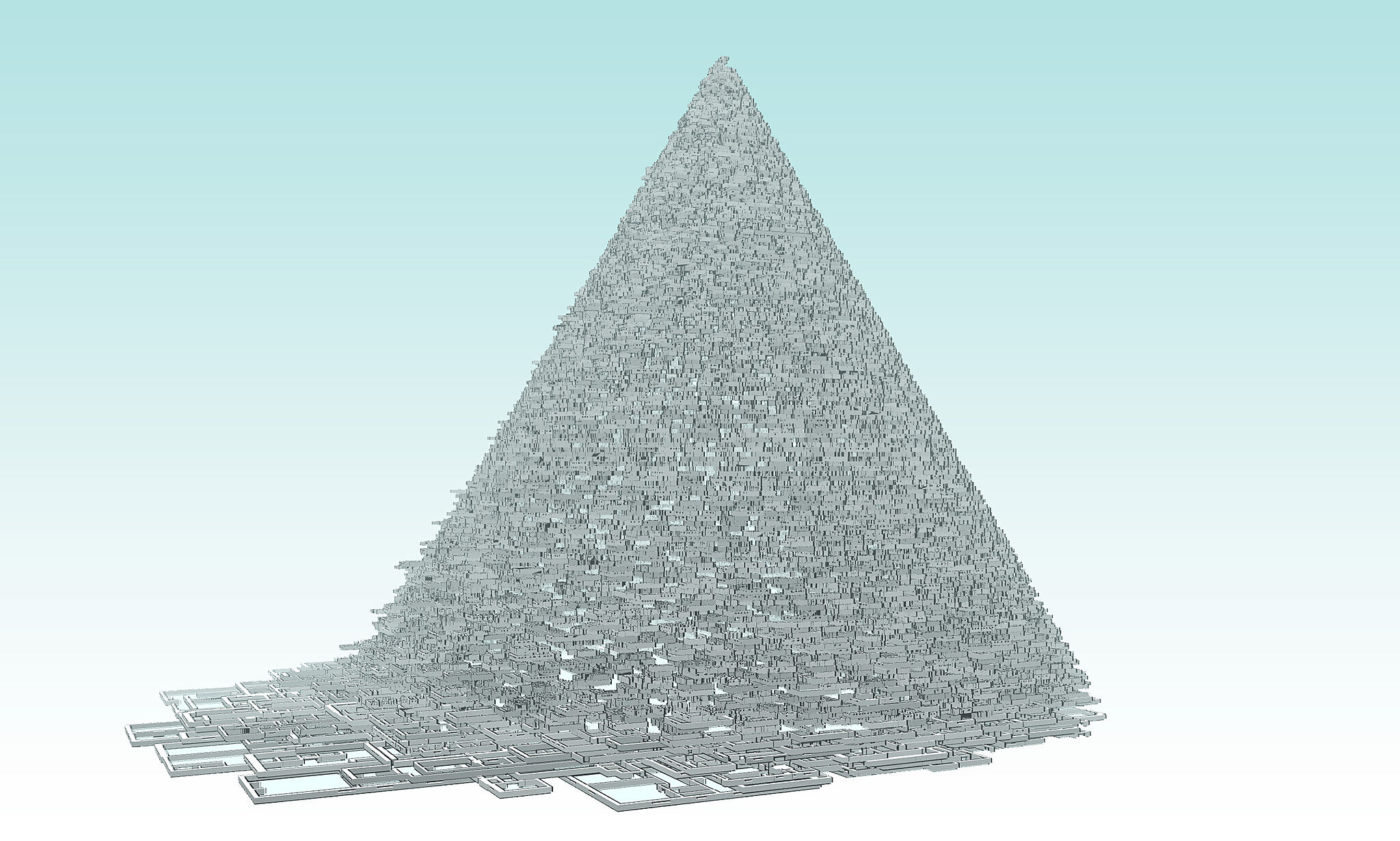 A computer-generated image of apartment layouts stacked into the shape of a pyramid